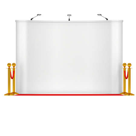 rope barrier: Trade show booth white and blank with gold rope barrier and red carpet. 3d render illustration isolated on white background.