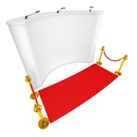 velvet rope barrier: Trade show booth white and blank with gold rope barrier and red carpet. 3d render illustration isolated on white background.