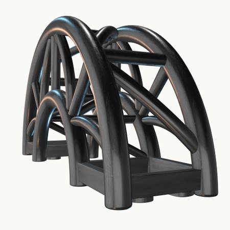 girders: Steel truss arc girder element. 3d render isolated on white