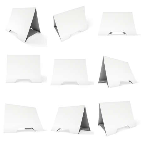 reserved seat: Blank paper tent card set. 3d render illustration isolated. Table card mock up on white background. Stock Photo