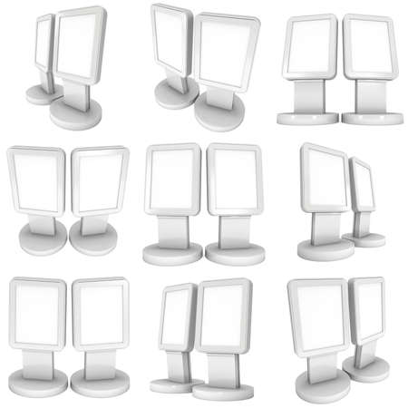 expositor: LCD Screen Stand. Blank Trade Show Booth. 3d render of lcd screen isolated on white background.