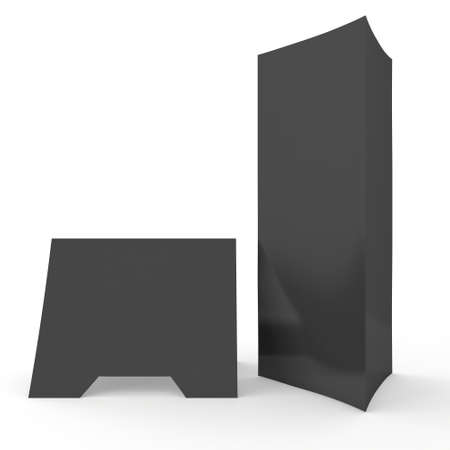 assign: Blank paper triangle tent cards. 3d render illustration isolated. Table cards mock up on white background. Stock Photo