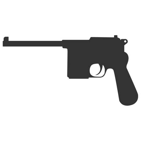 semi automatic: Pistol handgun silhouette security and military weapon. Metal pistol gun.