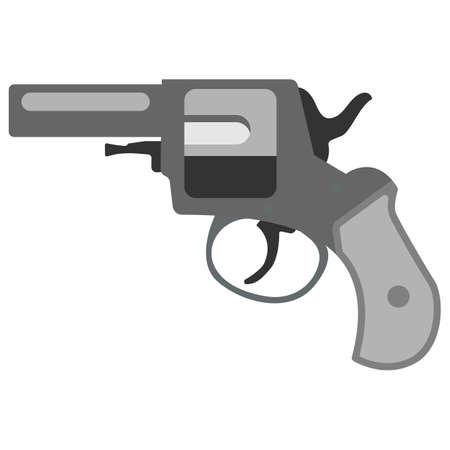steel drum: Pistol handgun security and military weapon. Metal revolver gun.