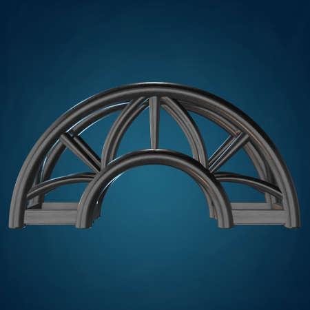 Steel truss arc girder element. 3d render on blue background Stock Photo