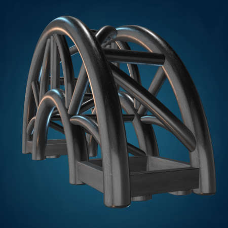arc: Steel truss arc girder element. 3d render on blue background Stock Photo