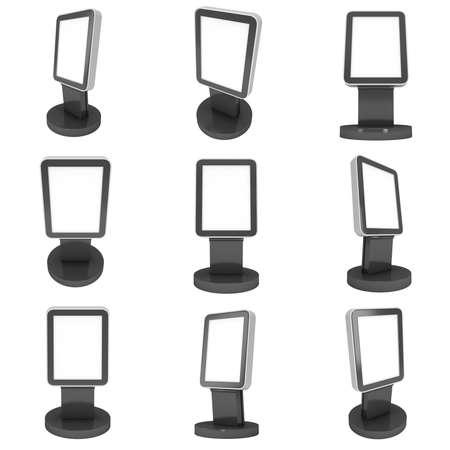 expositor: Pantalla LCD Stand. establece en blanco stand de feria. 3d de la pantalla de cristal líquido aislado sobre fondo blanco. Foto de archivo