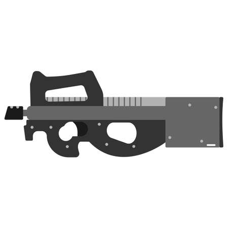 Submachine gun security and military weapon. Metal automatic gun.
