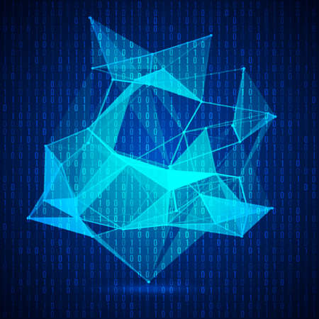 Wireframe mesh polygonal background. Abstract form with connected lines and dots.