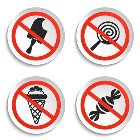 no food: No food and Ice Cream Prohibition Signs on White Round Plate. No Ice Cream Vector Illustration isolated on white background