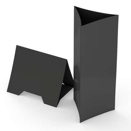 assign: Black paper triangle tent cards. 3d render illustration isolated. Table cards mock up on white background.