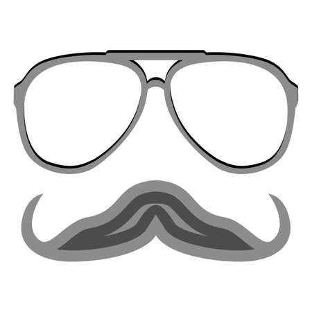 nerd glasses: Hipster nerd glasses and stylish mustache isolated on white. Illustration