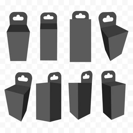 box set: Black paper hanging box set. Packaging container with hanging hole.