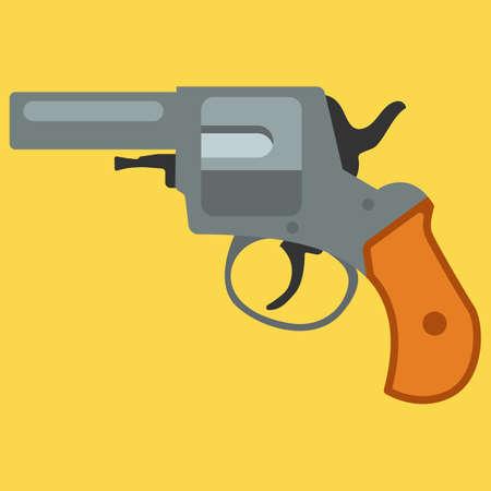 gat: Pistol handgun security and military weapon. Metal revolver gun.