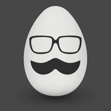 testicle: Chicken Egg hipster nerd glasses and stylish mustache with shadow on solid black background. Illustration