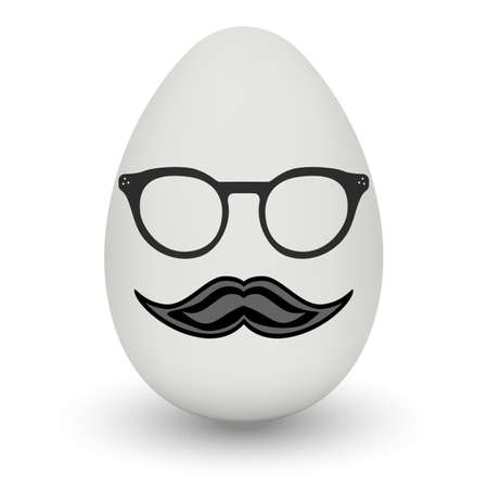 Chicken Egg hipster nerd glasses and stylish mustache with shadow isolated on white background.
