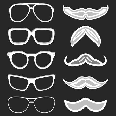 nerd glasses: Set of hipster nerd glasses and stylish mustaches on black.