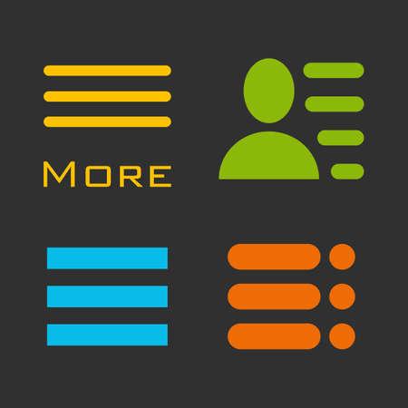 webdesigner: Hamburger menu icons set. colored symbols collection on black background.