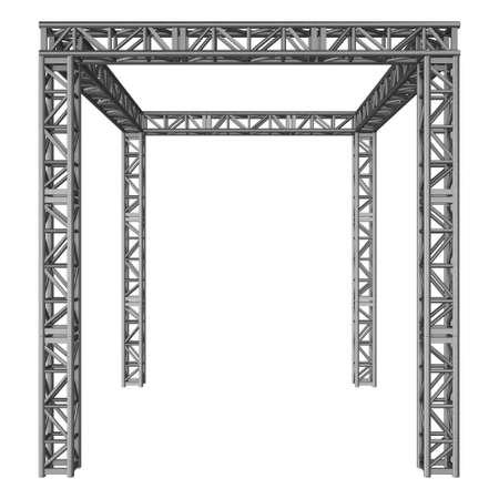 鋼トラス桁構造。3 d のレンダリングを白で隔離 写真素材