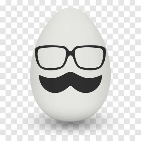 testicle: Chicken Egg hipster nerd glasses and stylish mustache with shadow on transparent background. Illustration