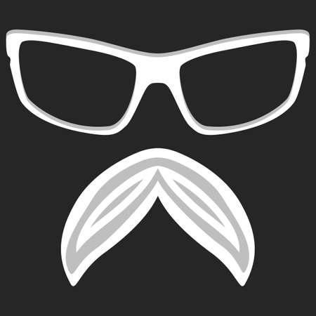 nerd glasses: Hipster nerd glasses and stylish mustache on black. Illustration