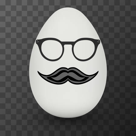 nerd glasses: Chicken Egg hipster nerd glasses and stylish mustache with shadow on black transparent background.