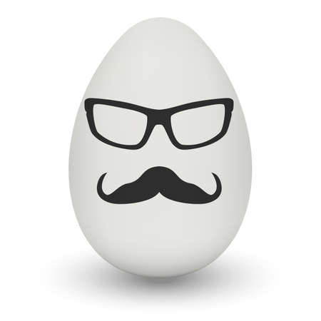 nerd glasses: Chicken Egg hipster nerd glasses and stylish mustache with shadow isolated on white background.