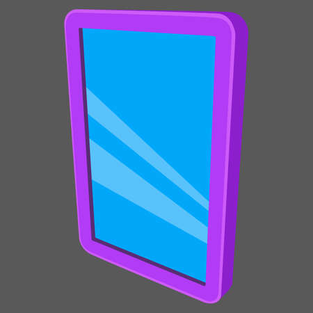ereader: illustration of lcd screen pad isolated on black background.
