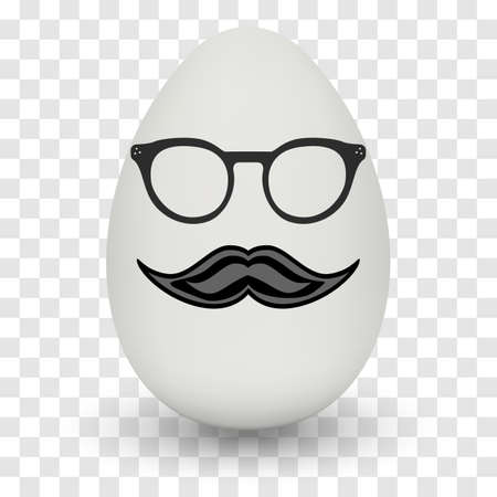 nerd glasses: Chicken Egg hipster nerd glasses and stylish mustache with shadow on transparent background. Illustration