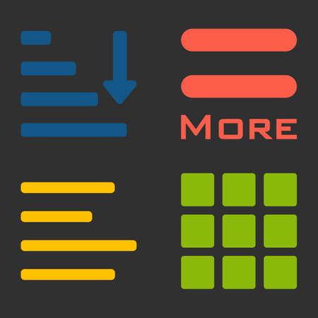 webdesigner: Hamburger menu icons set. color symbols collection on black background.