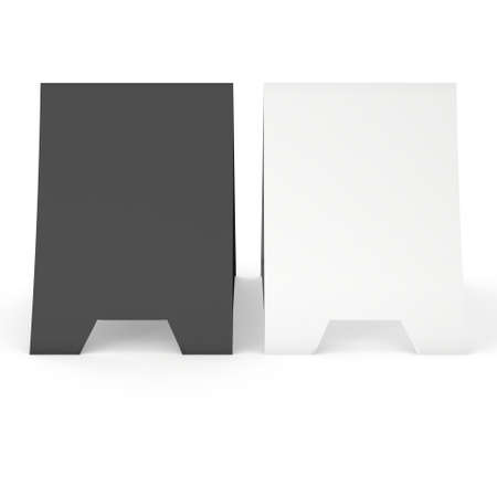 reserved seat: Two blank paper tent cards. 3d render illustration isolated. Table cards mock up on white background.