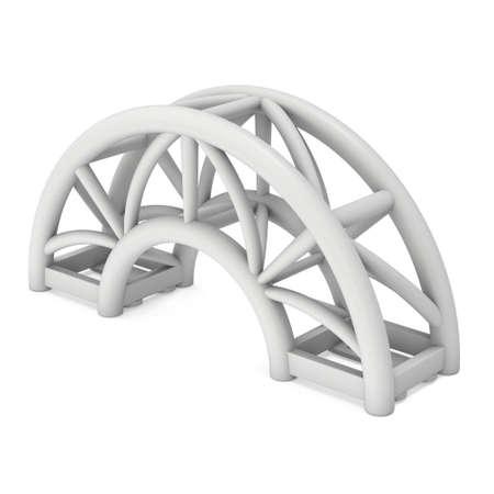 truss: Steel truss arc girder element. 3d render isolated on white