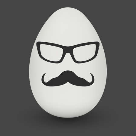 testicle: Chicken Egg hipster nerd glasses and stylish mustache with shadow on solid black background. Natural ecological product. Healthy food. Dietary product. Easter symbol. Vector illustration