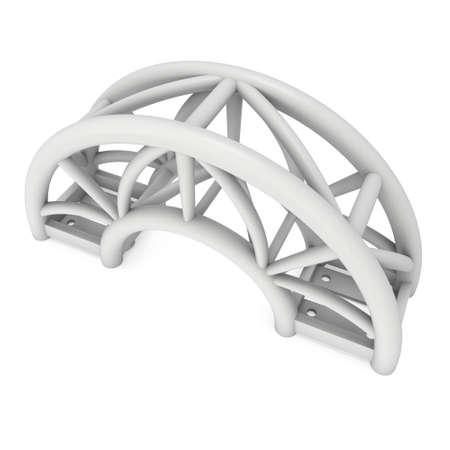 arc: Steel truss arc girder element. 3d render isolated on white
