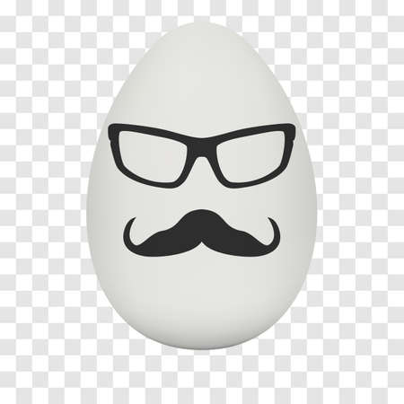 testicle: Chicken Egg hipster nerd glasses and stylish mustache with shadow on transparent background. Natural ecological product. Healthy food. Dietary product. Easter symbol. Vector illustration