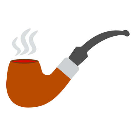 Tobacco smoking pipe. Vector. Classic hipster smoke pipe in flat style. Vector illustration isolated on white background Illustration