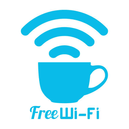 Internet cafe free wifi coffee cup sign. Wireless Network icon. Blue flat button with wifi symbol. Modern UI element. Vector illustration.