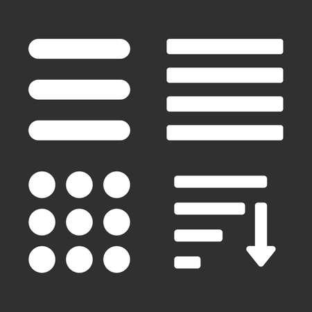 Hamburger menu icons set. Vector color symbols collection on black background.