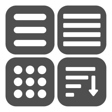 webdesigner: Hamburger menu icons set. Vector color symbols collection on black background.