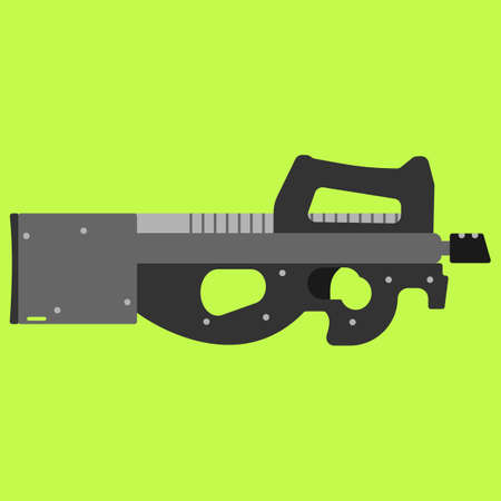 Submachine gun security and military weapon. Metal automatic gun. Criminal and police firearm vector illustration Illustration