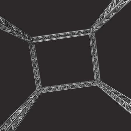 Steel truss girder rooftop construction. 3d render on dark