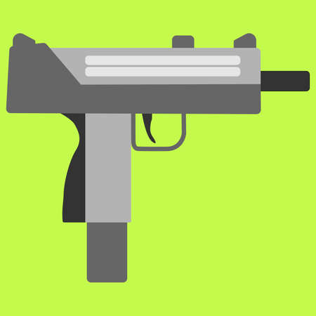 semi automatic: Submachine gun security and military weapon. Metal automatic gun. Criminal and police firearm vector illustration Illustration