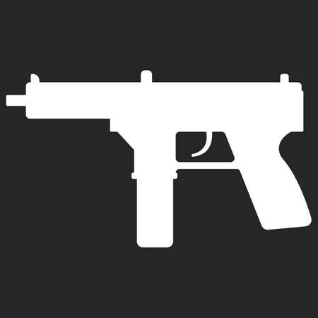 semi automatic: Submachine gun silhouette security and military weapon. Metal automatic gun. Criminal and police firearm vector illustration isolated on white.