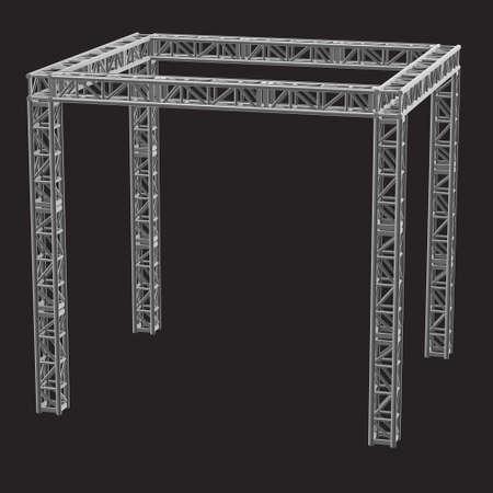 girders: Steel truss girder rooftop construction. 3d render on dark