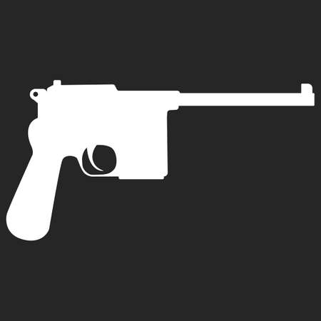 semi automatic: Pistol handgun silhouette security and military weapon. Metal pistol gun. Criminal and police firearm vector illustration.
