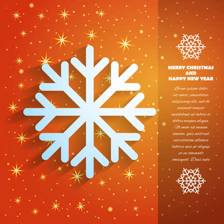 Christmas and New Year Greeting Card with Snowflake and Stars in Xmas eve. Template vector concept. Illustration