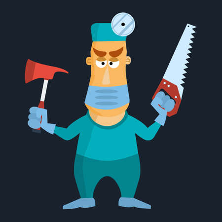 surgical glove: Surgeon doctor using mask axe and saw. Vector illustration