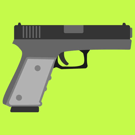 semi automatic: Pistol handgun security and military weapon. Metal pistol gun. Criminal and police firearm vector illustration.