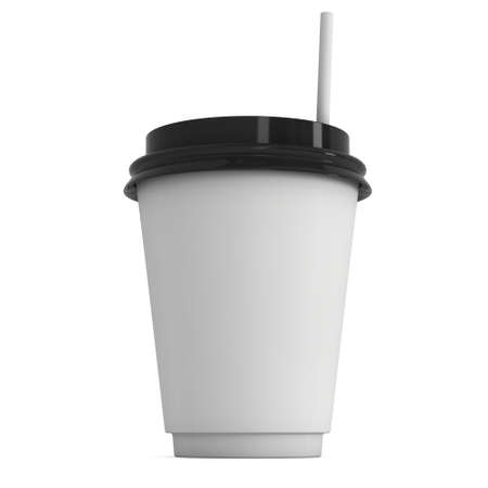 plastic straw: Disposable coffee cup with paper straw . Blank paper mug with plastic cap. 3d render isolated on white background