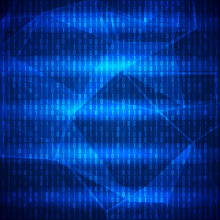programming code: Abstract Blue Technology Background. Binary Computer Code. Programming, Coding and Hacker concept. Vector Background Illustration.
